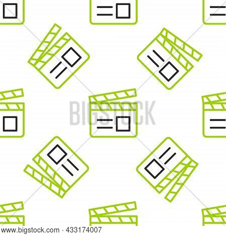 Line Movie Clapper Icon Isolated Seamless Pattern On White Background. Film Clapper Board. Clapperbo