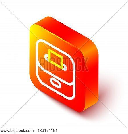Isometric Line Vote Box Or Ballot Box With Envelope Icon Isolated On White Background. Orange Square