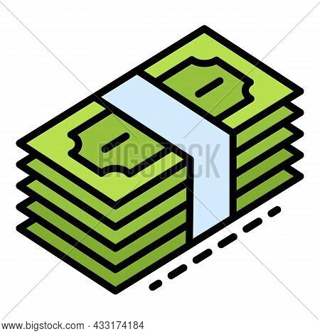 Dollar Money Stack Icon. Outline Dollar Money Stack Vector Icon Color Flat Isolated On White