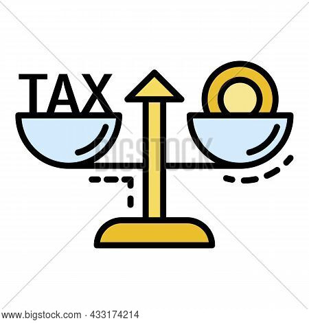 Tax Money Balance Icon. Outline Tax Money Balance Vector Icon Color Flat Isolated On White