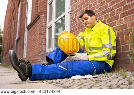 Upset Sad Construction Worker. Unhappy Foreman Contractor