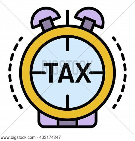 Tax Alarm Time Icon. Outline Tax Alarm Time Vector Icon Color Flat Isolated On White