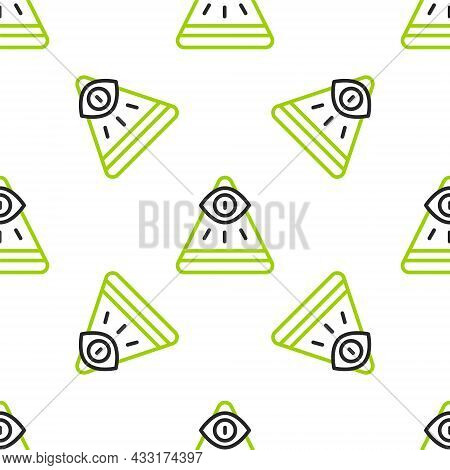 Line Masons Symbol All-seeing Eye Of God Icon Isolated Seamless Pattern On White Background. The Eye