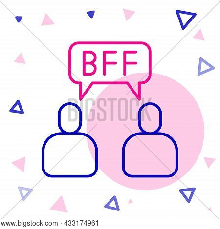 Line Bff Or Best Friends Forever Icon Isolated On White Background. Colorful Outline Concept. Vector