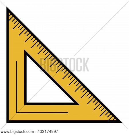 School Angle Ruler Icon. Outline School Angle Ruler Vector Icon Color Flat Isolated On White