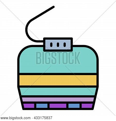 Cable Car Cabin Icon. Outline Cable Car Cabin Vector Icon Color Flat Isolated On White