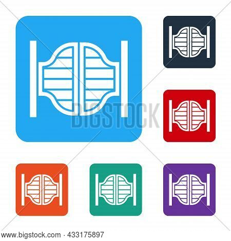 White Old Western Swinging Saloon Door Icon Isolated On White Background. Set Icons In Color Square