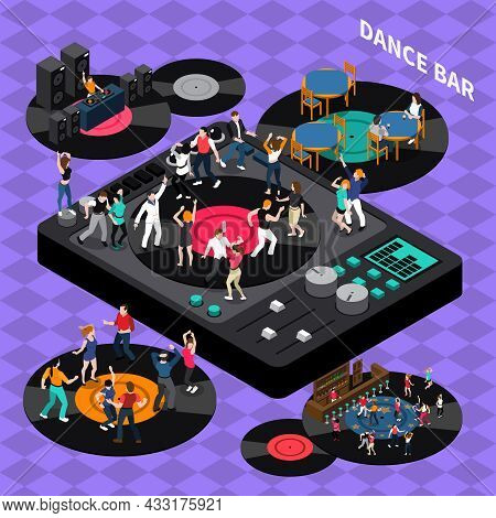 Dj Club Bar Retro Style Vinyl Discs Dance Floor Isometric Composition Poster With Rhythmic Moving Pe