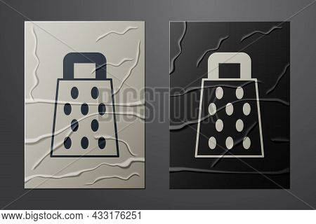 White Grater Icon Isolated On Crumpled Paper Background. Kitchen Symbol. Cooking Utensil. Cutlery Si
