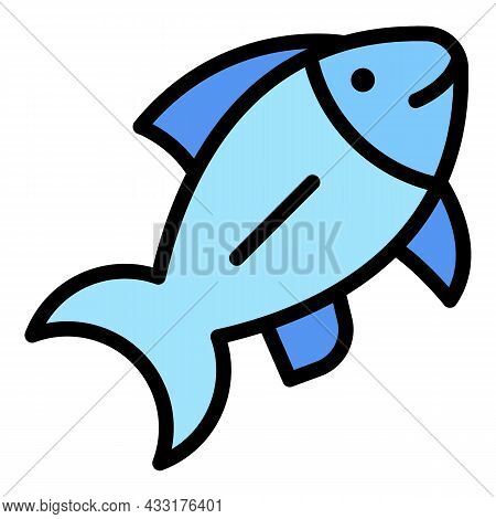 Ocean Fish Icon. Outline Illustration Of Ocean Fish Vector Icon Color Flat Isolated On White