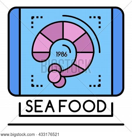 Shrimp Sea Food Logo. Outline Shrimp Sea Food Vector Logo Color Flat Isolated On White