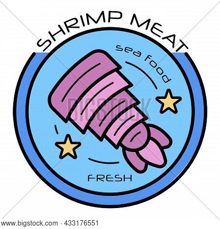 Raw Shrimp Meat Logo. Outline Raw Shrimp Meat Vector Logo Color Flat Isolated On White
