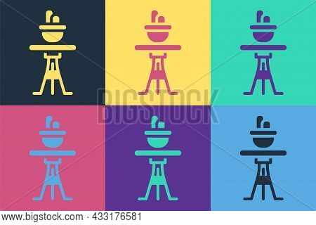 Pop Art Plant In Pot On Table Icon Isolated On Color Background. Plant Growing In A Pot. Potted Plan