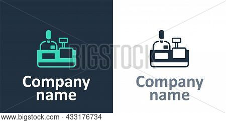 Logotype Cashier At Cash Register Supermarket Icon Isolated On White Background. Shop Assistant, Cas