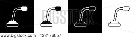 Set Microphone Icon Isolated On Black And White Background. On Air Radio Mic Microphone. Speaker Sig