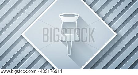 Paper Cut Push Pin Icon Isolated On Grey Background. Thumbtacks Sign. Paper Art Style. Vector