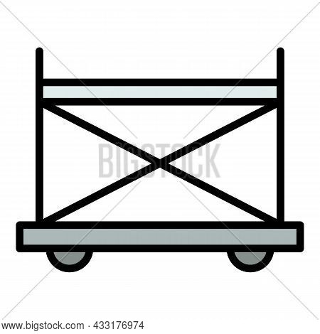Wheel Scaffold Icon. Outline Illustration Of Wheel Scaffold Vector Icon Color Flat Isolated On White