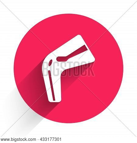 White Bone Pain Icon Isolated With Long Shadow. Orthopedic Medical. Disease Of The Joints And Bones,
