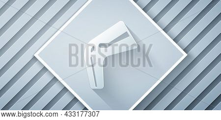 Paper Cut Bone Pain Icon Isolated On Grey Background. Orthopedic Medical. Disease Of The Joints And