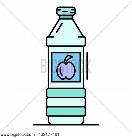 Apple Vinegar Bottle Icon. Outline Apple Vinegar Bottle Vector Icon Color Flat Isolated On White