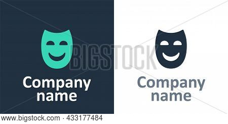 Logotype Comedy Theatrical Mask Icon Isolated On White Background. Logo Design Template Element. Vec