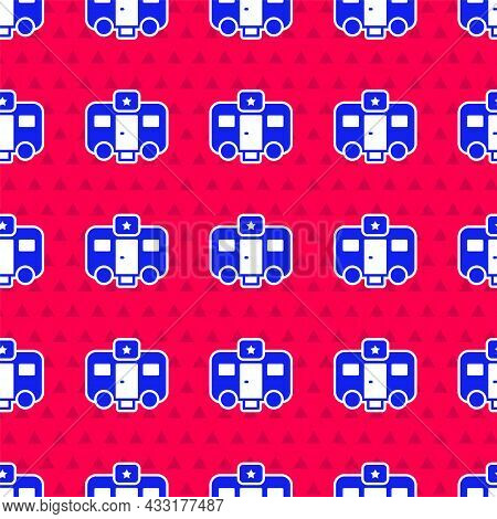Blue Machine Trailer Dressing Room For Actors Icon Isolated Seamless Pattern On Red Background. Movi