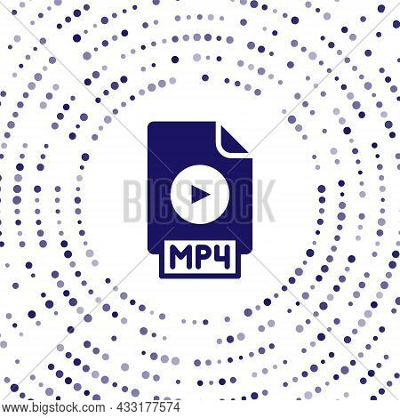 Blue Mp4 File Document. Download Mp4 Button Icon Isolated On White Background. Mp4 File Symbol. Abst