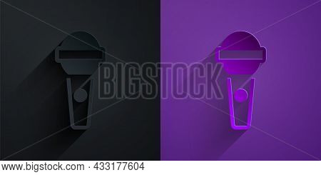 Paper Cut Microphone Icon Isolated On Black On Purple Background. On Air Radio Mic Microphone. Speak