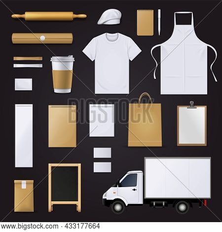 Bakery Pastry Shop Visual Corporate Identity Blank Template Items Collection With Dough Roll Pin Bla