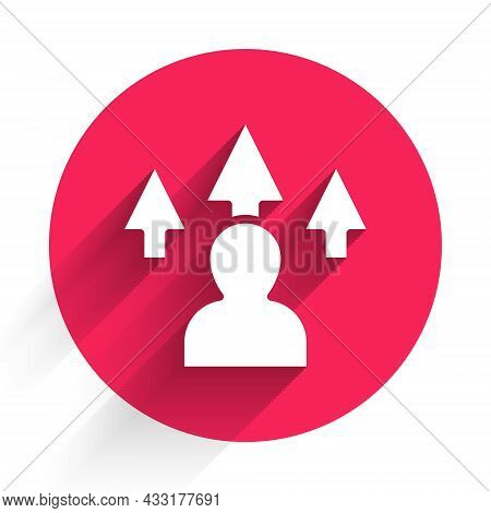 White Web Design And Front End Development Icon Isolated With Long Shadow. Red Circle Button. Vector