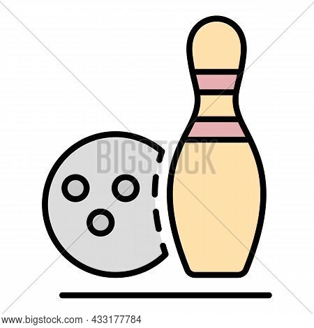 Bowling Recreation Icon. Outline Bowling Recreation Vector Icon Color Flat Isolated On White