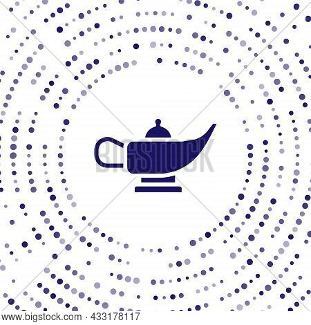 Blue Magic Lamp Or Aladdin Lamp Icon Isolated On White Background. Spiritual Lamp For Wish. Abstract