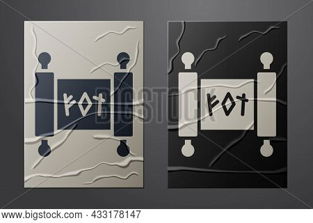 White Magic Scroll Icon Isolated On Crumpled Paper Background. Decree, Paper, Parchment, Scroll Icon