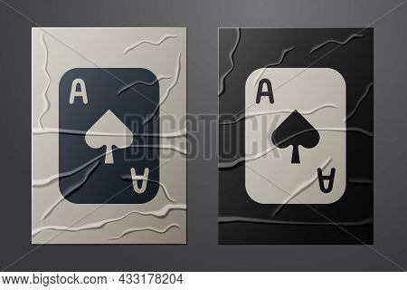 White Playing Cards Icon Isolated On Crumpled Paper Background. Casino Gambling. Paper Art Style. Ve