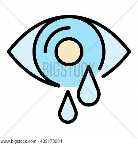 Eye Tears Icon. Outline Eye Tears Vector Icon Color Flat Isolated On White