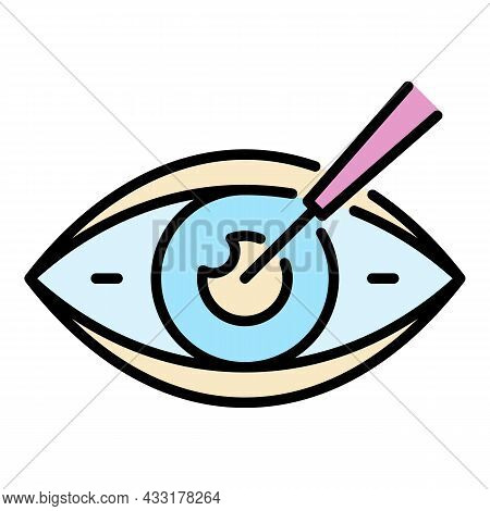 Eyeball Care Icon. Outline Eyeball Care Vector Icon Color Flat Isolated On White