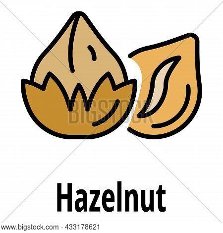 Hazelnut Icon. Outline Hazelnut Vector Icon Color Flat Isolated On White