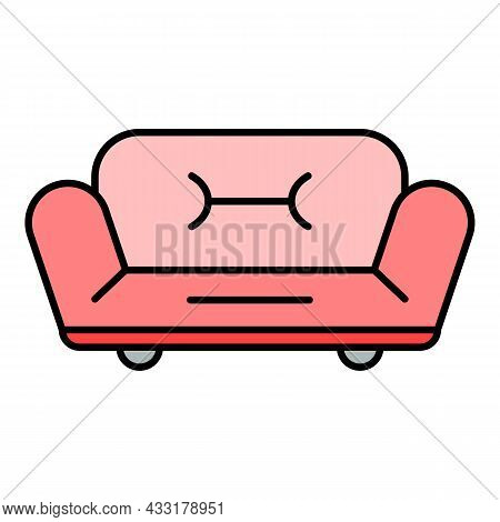 Soft Sofa Icon. Outline Soft Sofa Vector Icon Color Flat Isolated On White