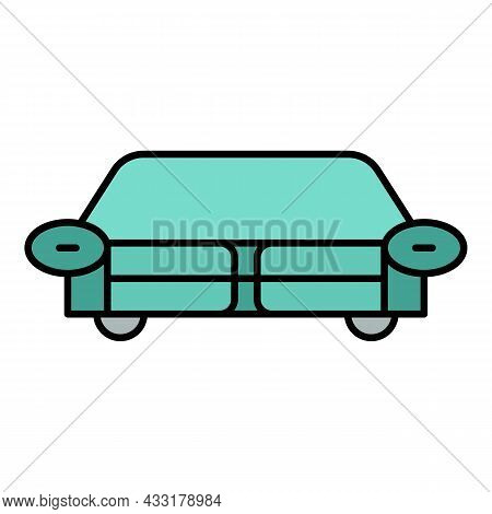 Living Room Sofa Icon. Outline Living Room Sofa Vector Icon Color Flat Isolated On White