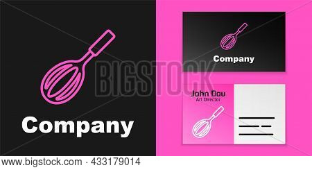 Pink Line Kitchen Whisk Icon Isolated On Black Background. Cooking Utensil, Egg Beater. Cutlery Sign