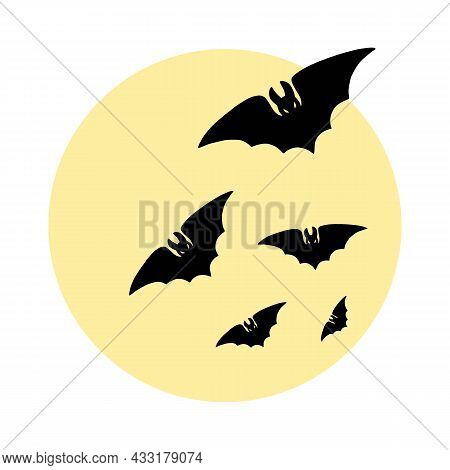 Spooky Flying Vampire Bat Black Silhouette And Big Full Moon. Halloween Night Background. Scary Cart