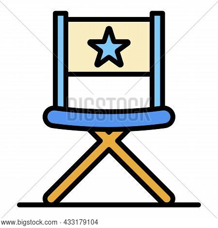 Vblog Director Chair Icon. Outline Vblog Director Chair Vector Icon Color Flat Isolated On White