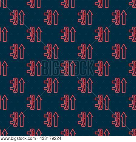 Red Line Planet Earth Melting To Global Warming Icon Isolated Seamless Pattern On Black Background.