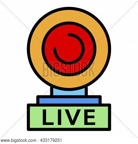 Web Cam Live Icon. Outline Web Cam Live Vector Icon Color Flat Isolated On White