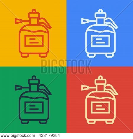 Pop Art Line Garden Sprayer For Water, Fertilizer, Chemicals Icon Isolated On Color Background. Vect