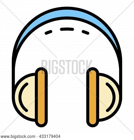 Retro Headset Icon. Outline Retro Headset Vector Icon Color Flat Isolated On White
