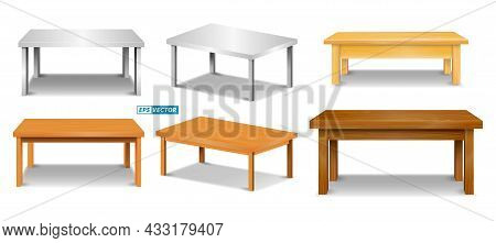 Set Of Realistic Brown Wooden Table Top Or Pine Wood Tabletop Isolated Or Montage Table Display Deta