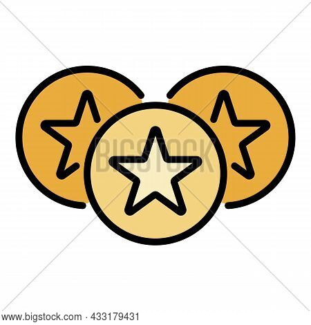 Star Emblem Icon. Outline Star Emblem Vector Icon Color Flat Isolated On White