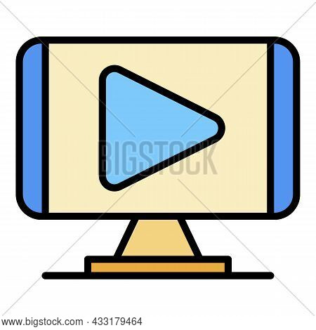 Play Video Monitor Icon. Outline Play Video Monitor Vector Icon Color Flat Isolated On White