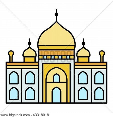 Muslim Temple Icon. Outline Muslim Temple Vector Icon Color Flat Isolated On White
